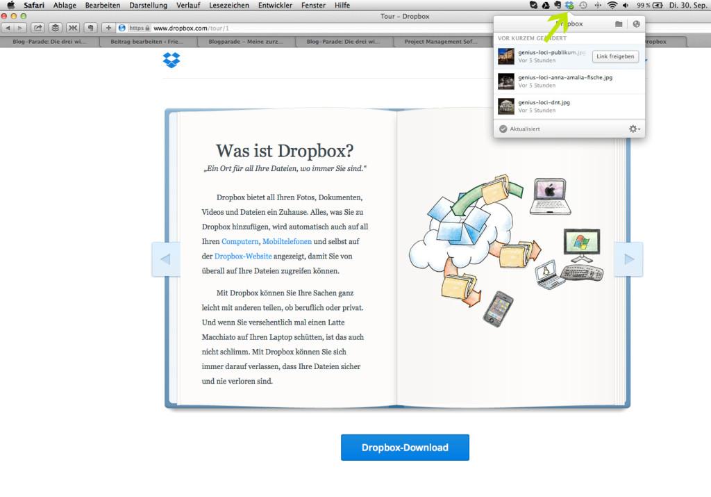 Status-Ansicht auf Mac für Dateien-Upload