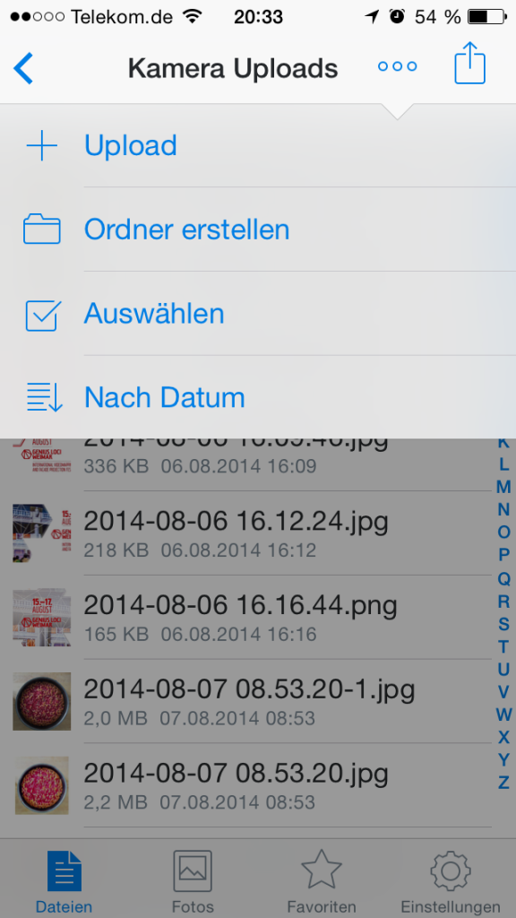 Upload-Funktion auf iPhone