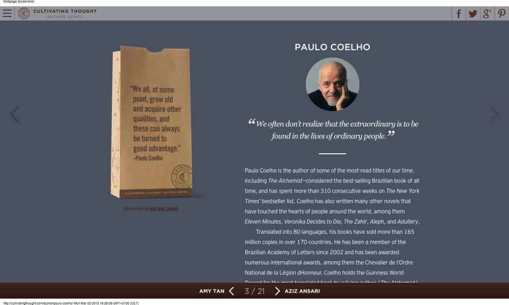 Paulo Coelho - Cultivating Thought