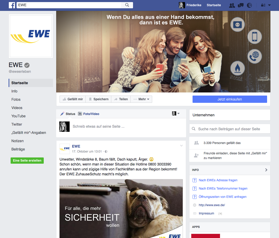 Facebook Workshop bei EWE im Auftrag von buw digital