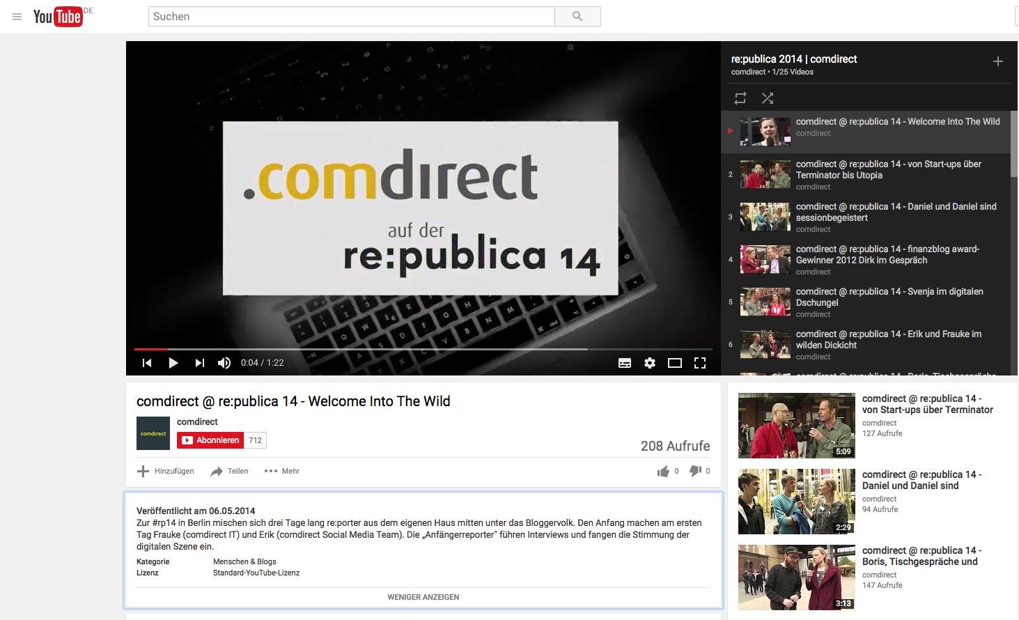 Youtube Redaktion bei comdirect zur rp14 im Auftrag von buw digital