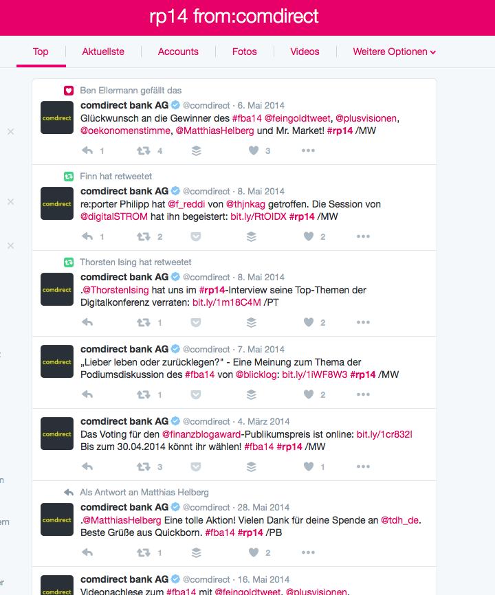 Twitter Redaktion für comdirect auf rp14 im Auftrag von buw digital